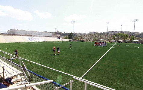 A view from from the stands of the newly renovated University Field, which is made out of artificial turf.