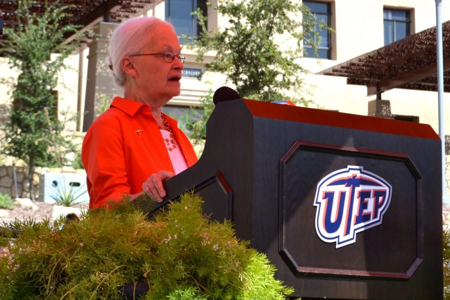 President Diana Natalicio speaks at Centannial Plaza on UTEPs continued ranking in the top 10 universities by Washington Monthly Magazine.