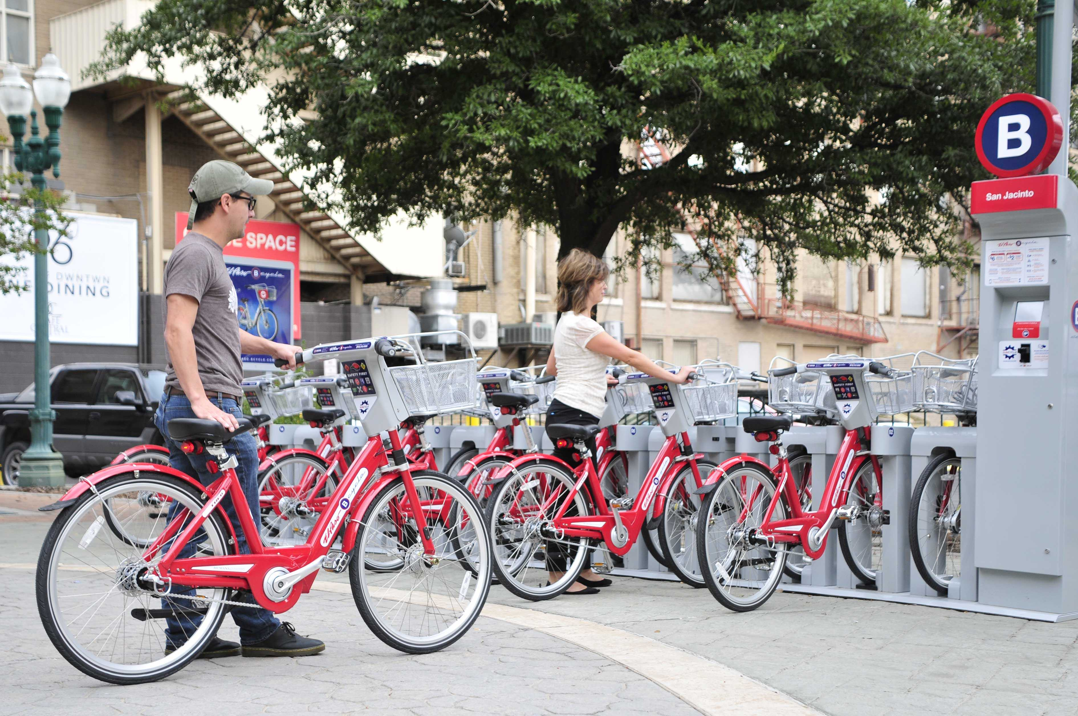 Pioneer Plaza is one of eight locations users can rent a bike from SunCycle Bike Share Program.
