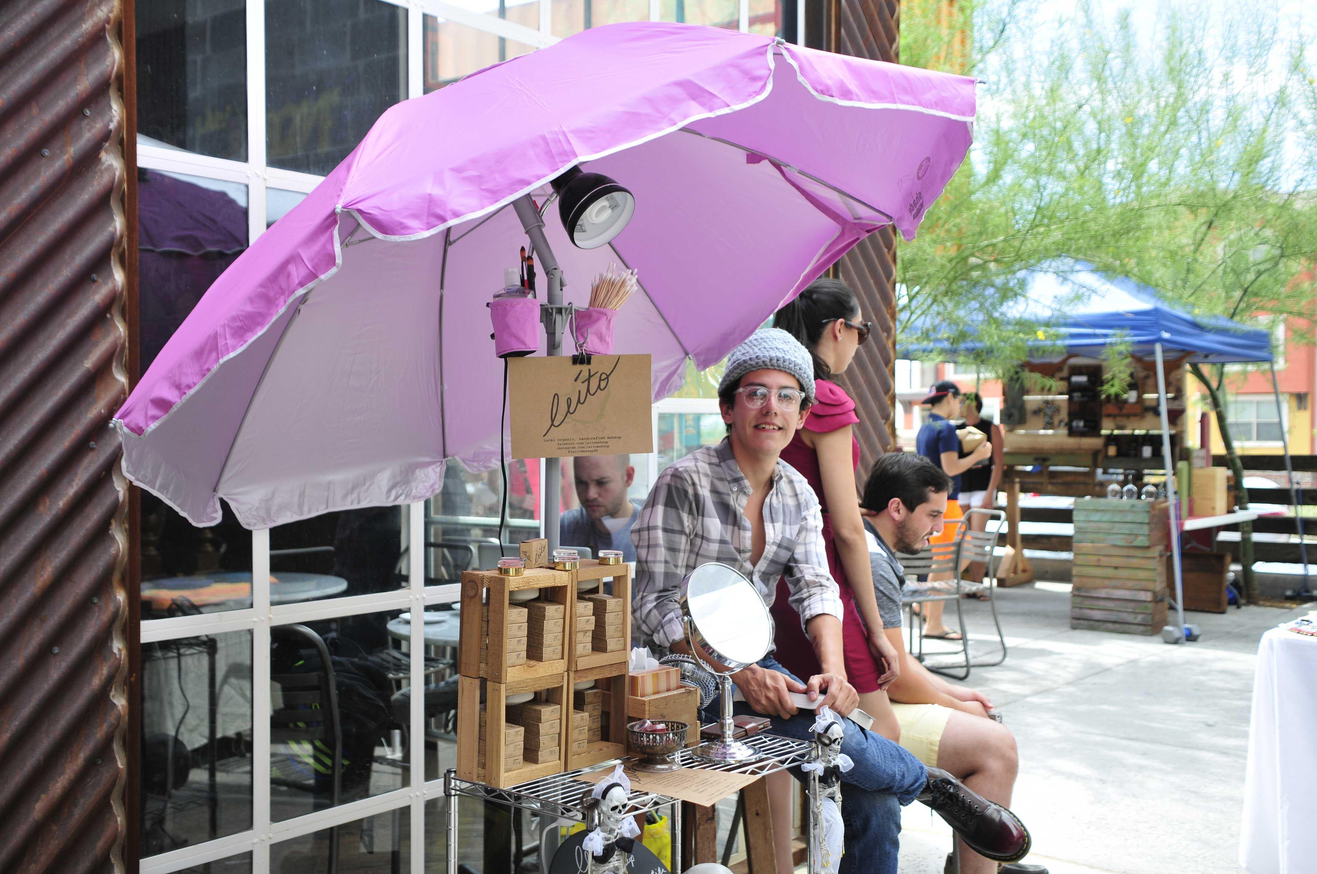 Leito Villalobos Gamboa sells his organic cosmetics at the TI:ME at Montecillo farmer's market.