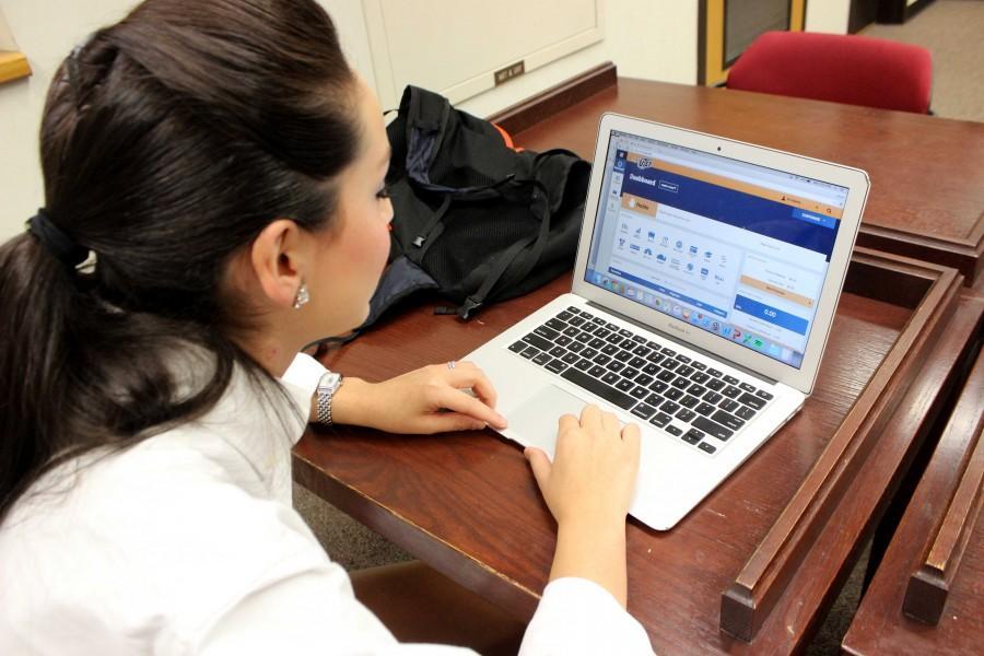Freshman Speech Pathology major, Valeria Carillo uses the new MyUTEP website.
