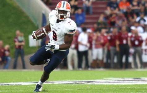 Junior wide receiver Jaquan White runs down the field in UTEP's new uniforms.