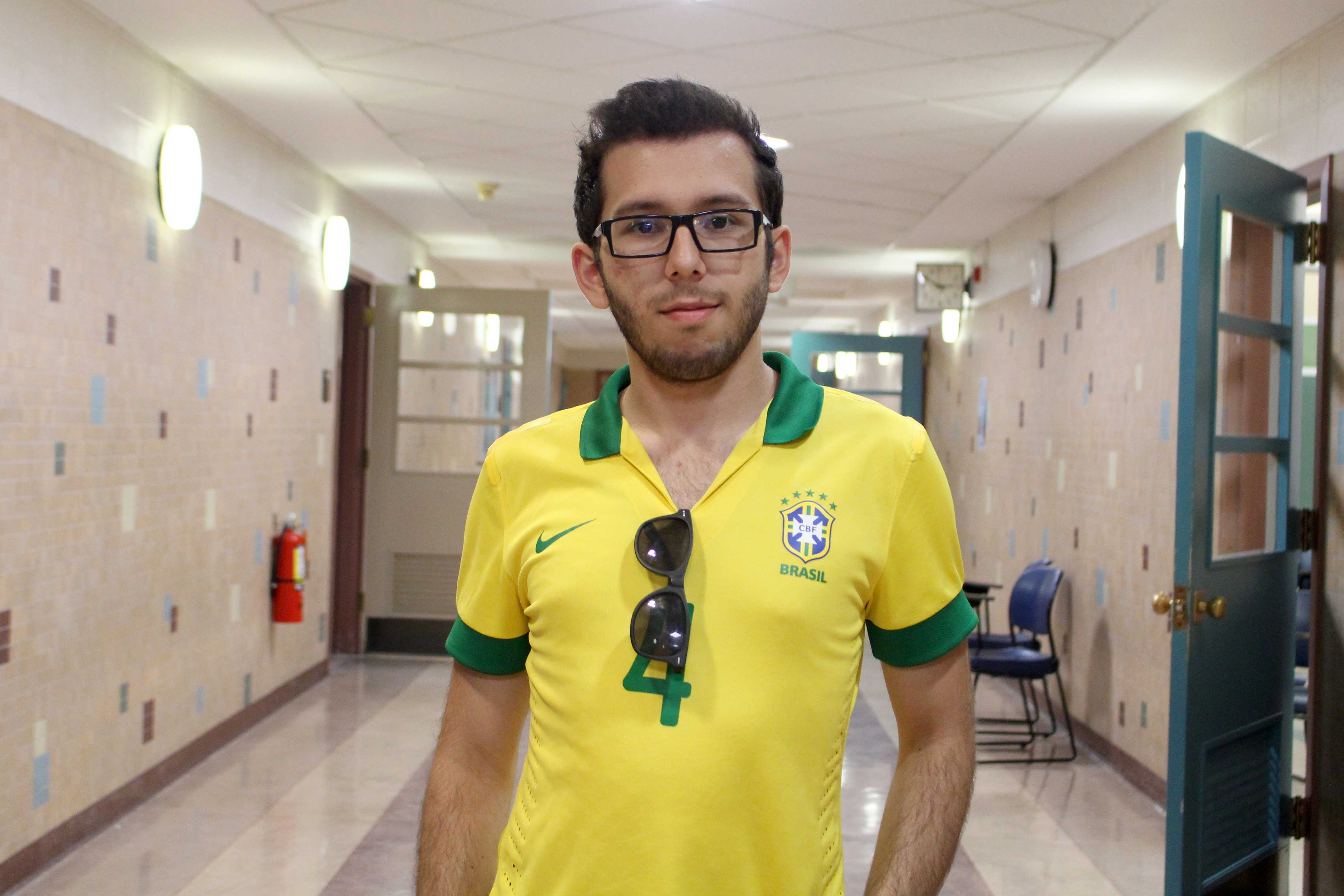 Junior electrical engineering major Carlos Caetano is a Brazillian student studying abroad at UTEP.