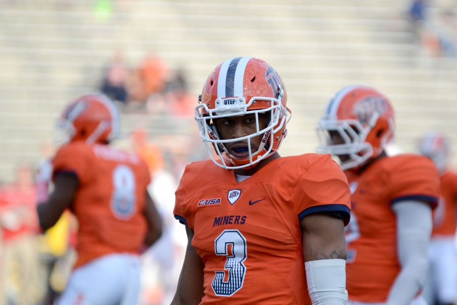 UTEP defensive back Traun Roberson observes the crowd before the game begins.
