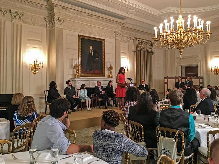 """Michelle Obama welcomes performing arts students to the White House State Dining Room on Monday as a part of """"Broadway at the White House."""