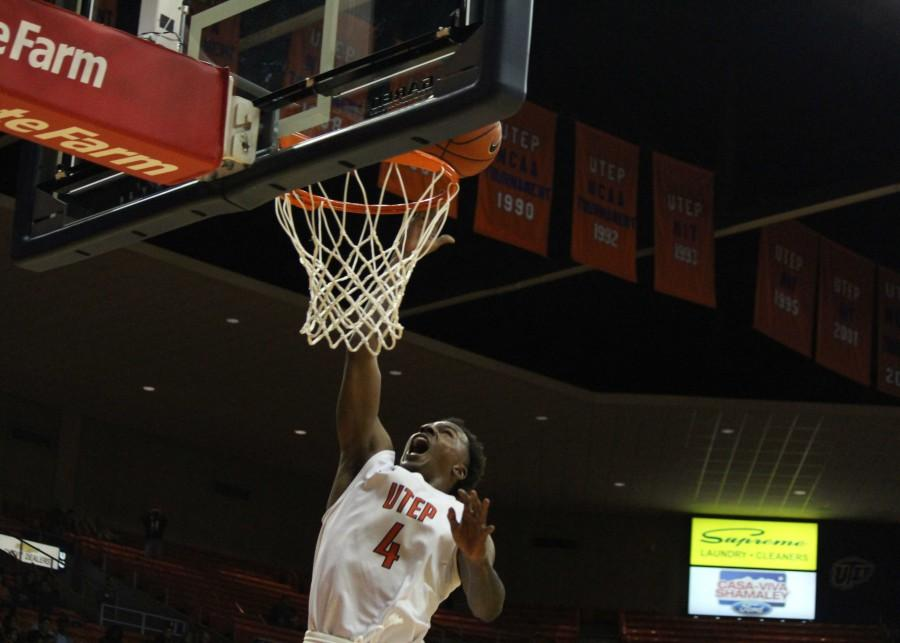 UTEP Guard Lee Moore jumps for a layup.