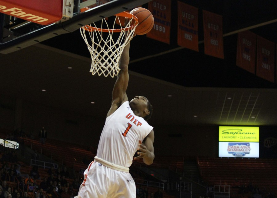 UTEP Guard Dominic Artis jumps for a layup.
