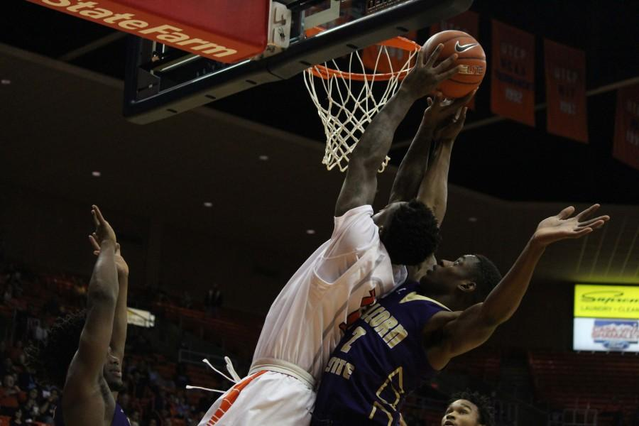 A UTEP player tries to get some points vs Alcorn.