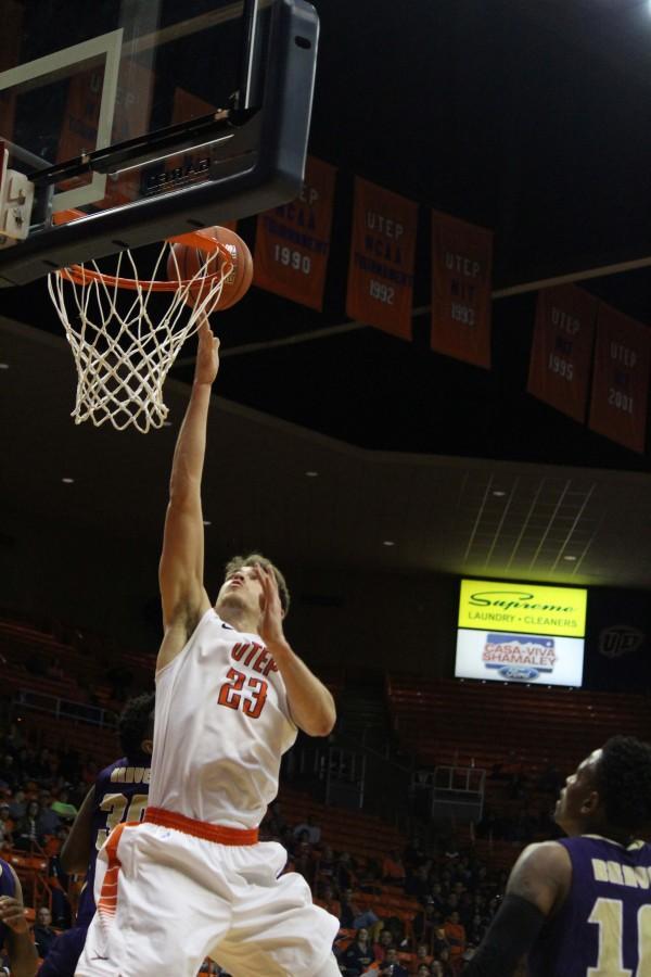 UTEP Center Hooper Vint jumps for a layup.