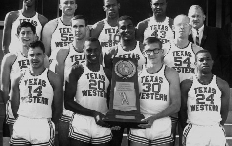 The 1966 NCAA Championship Texas Western team poses with trophy March 19, 1966.