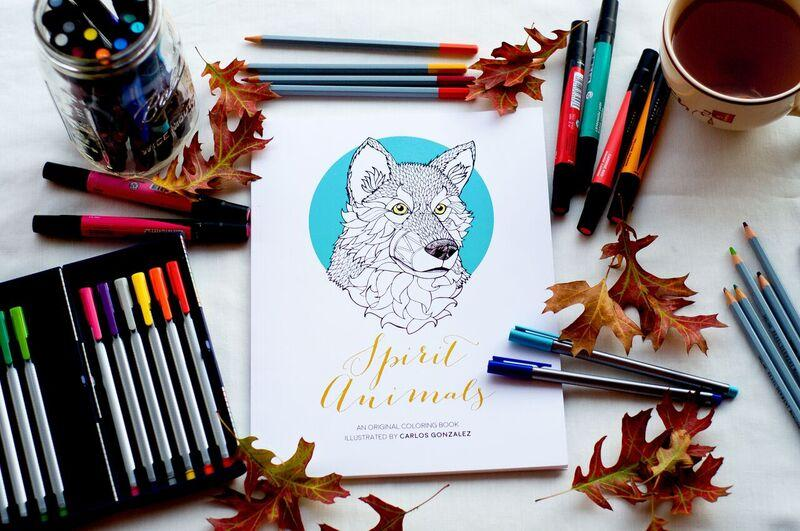 Spirit Animals is the title of the coloring book illustrated by Carlos Gonzalez.