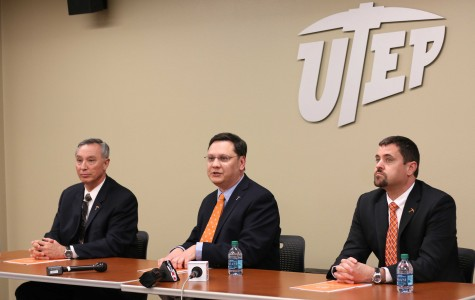(From left to right) Chief of UTEP Police Department Cliff Walsh, Vice President of Student Affairs Gary Edens, and Faculty Senate President and Associate Professor in Biology Mark Cox answer questions from the media.