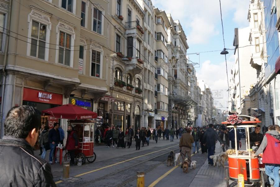 A shot of the busy streets of Istanbul, Turkey.