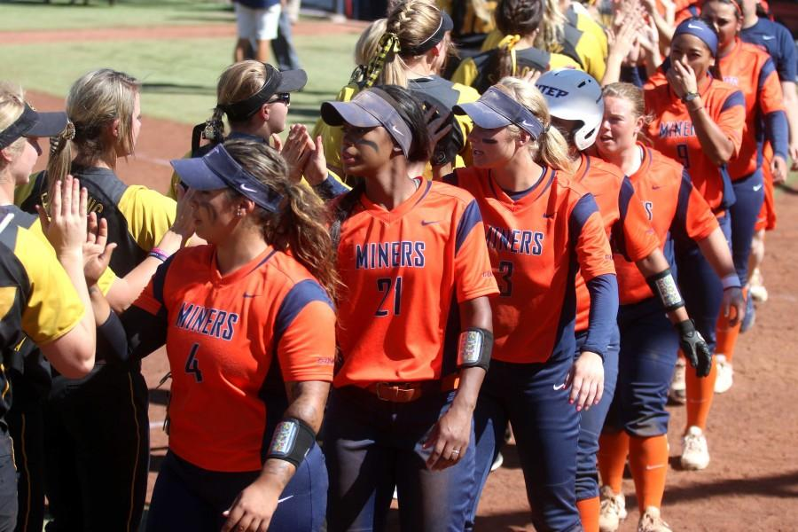 Miners women's softball lost two back to back games against Missouri, 15-4 and 11-0, on Monday, March 21.