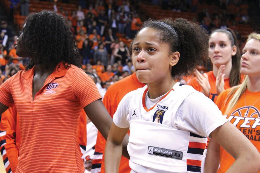 Senior guard Cameasha Turner tears up after the Miners fell to the Oregon Ducks, 71-67 in the elite eight of the Women's NIT.