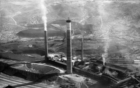 "ASARCO El Paso Smelter as shown from above in 1985. Beginning April 8, ""ASARCO in El Paso: A Visual History of Industry on the Border"" will be on display on the third floor of the UTEP Library."