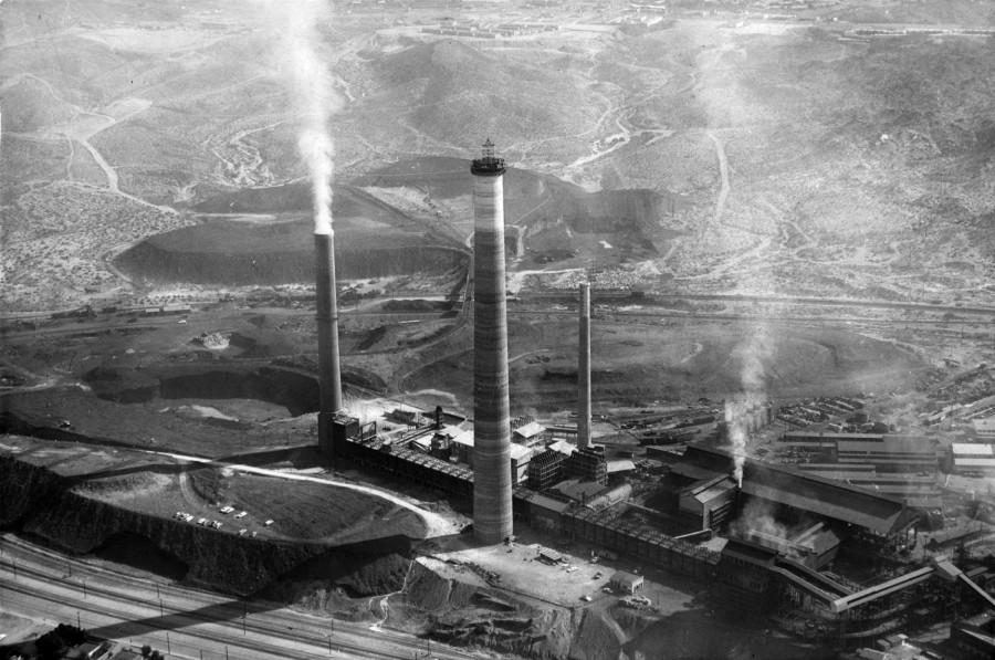 """ASARCO El Paso Smelter as shown from above in 1985. Beginning April 8, """"ASARCO in El Paso: A Visual History of Industry on the Border"""" will be on display on the third floor of the UTEP Library."""