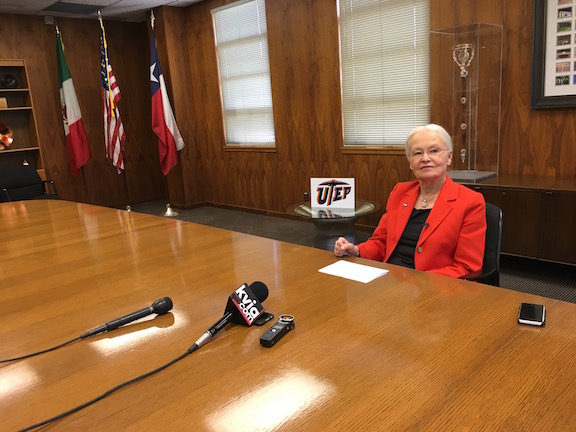 UTEP President Diana Natalicio spoke to media after being named one of TIME Magazine's list of the world's 100 most influential people.