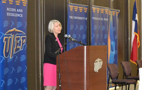 Peace Corps Director Carrie Hessler-Radelet addresses the crowd at the Tomas Rivera Conference Center on  April 13.