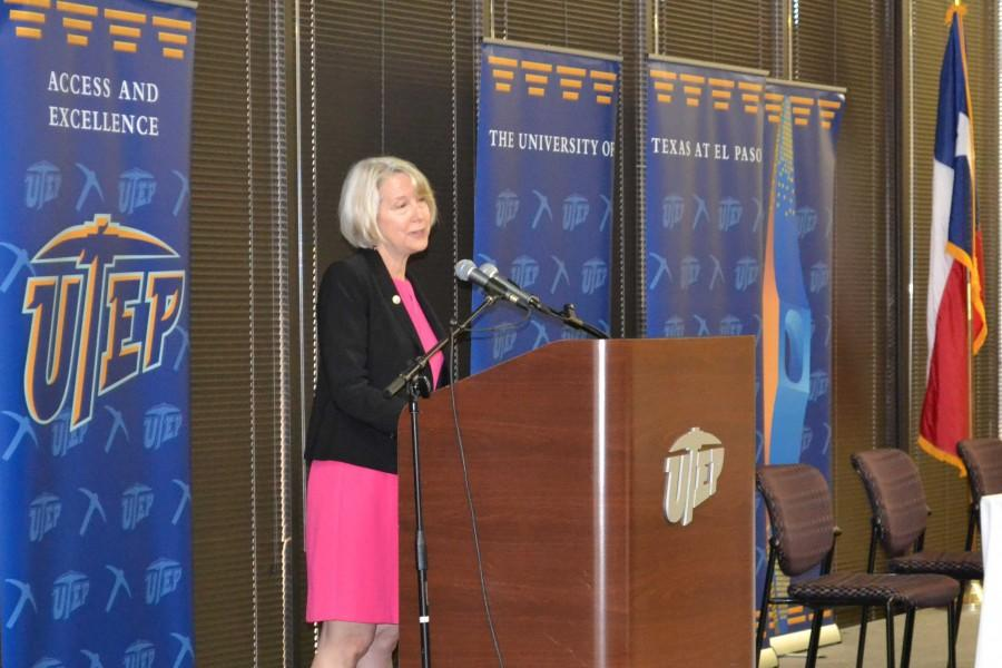 Peace+Corps+Director+Carrie+Hessler-Radelet+addresses+the+crowd+at+the+Tomas+Rivera+Conference+Center+on++April+13.+