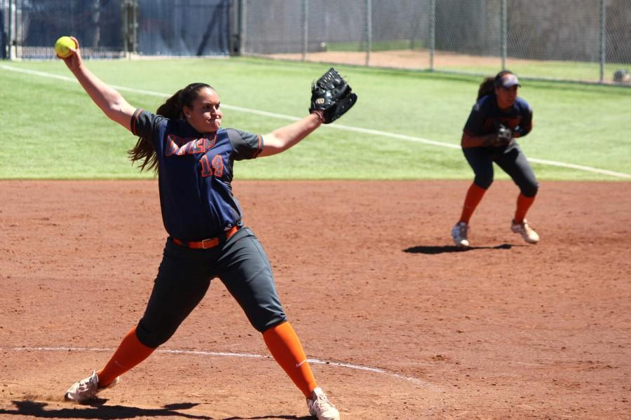Danielle Pearson winds the pitch against UTSA. The women's softball has won eight of their last nine conference games.