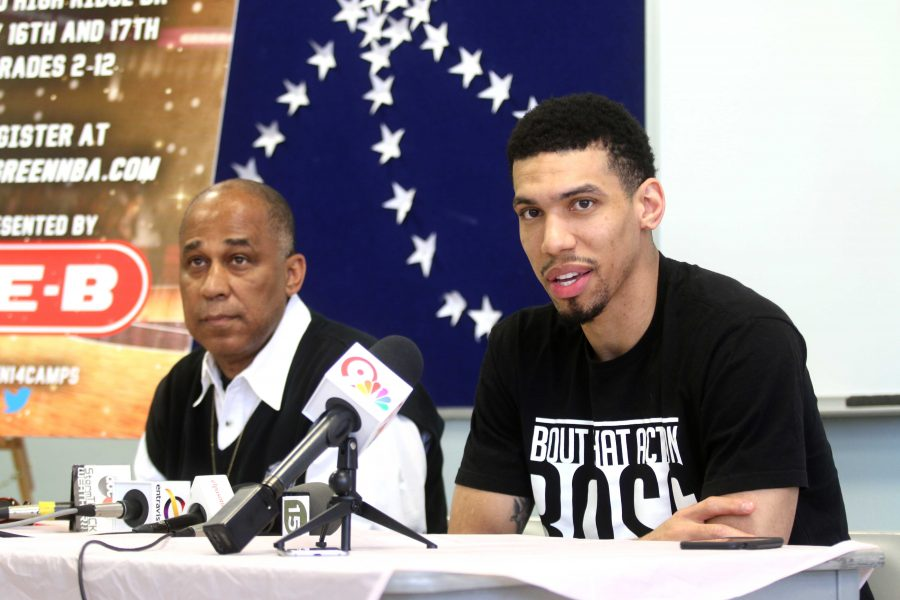 San Antonio Spurs player Danny Green speaks to the media about his upcoming basketball camp at the Don Haskins Recreational Center.