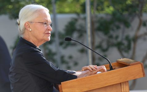 President Dr. Diana S. Natalicio gives a speech at her home in the Hoover House on May 20th.