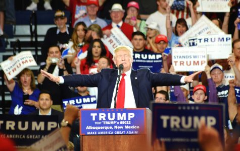 Republican presidential candidate Donald Trump holds rally in Albuquerque, New Mexico on Tue. May 24.
