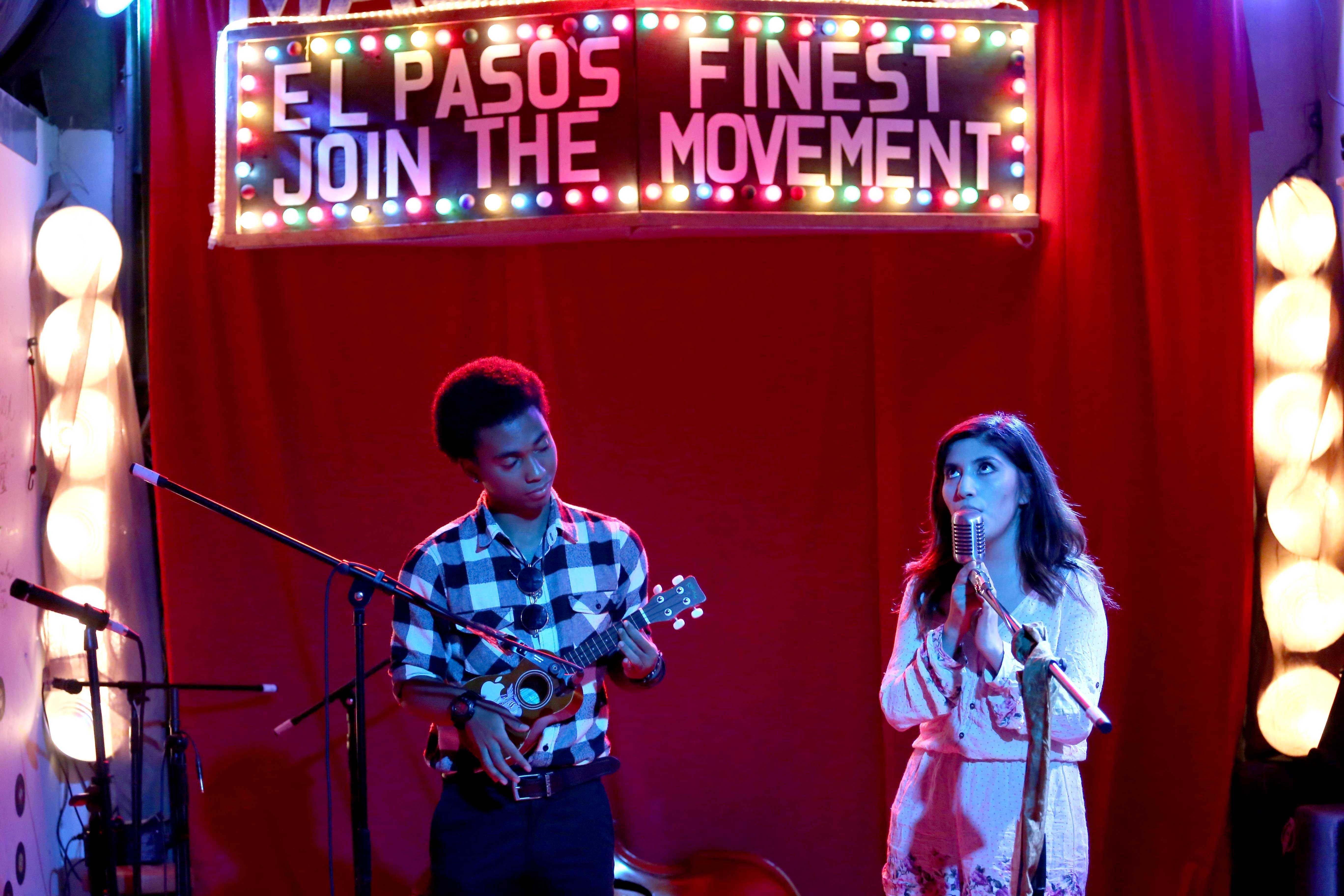 Two young musicians perform at the 306 Sessions at Zeven Music Studios in Eastside El Paso as part of the Barbed Wire Open Mic Series.