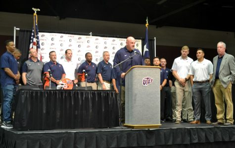 UTEP miners head football coach Sean Kugler talks about this seasons expectations at the Convention Center on August 25.