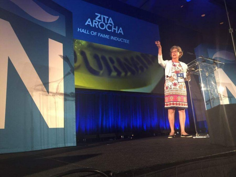 Zita Arocha on stage at the 2016 NAB/NAHJ national convention as she is inducted into their Hall of Fame.