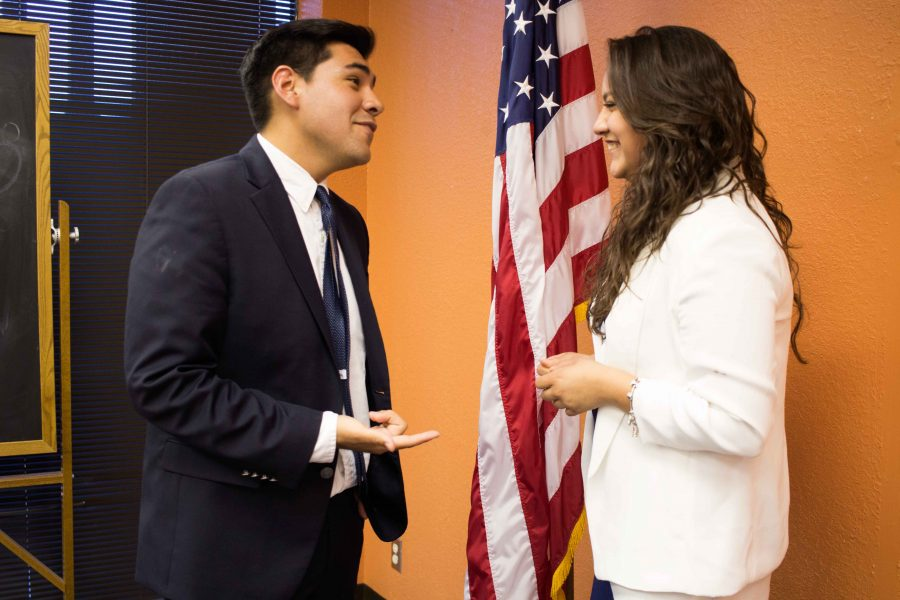 UTEP+College+Republicans+president%2C+senior+political+science+major%2C+Justin+Cruz+and+vice-president+Mariana+Prieto+talk+in+the+Student+Government+Association+office.+