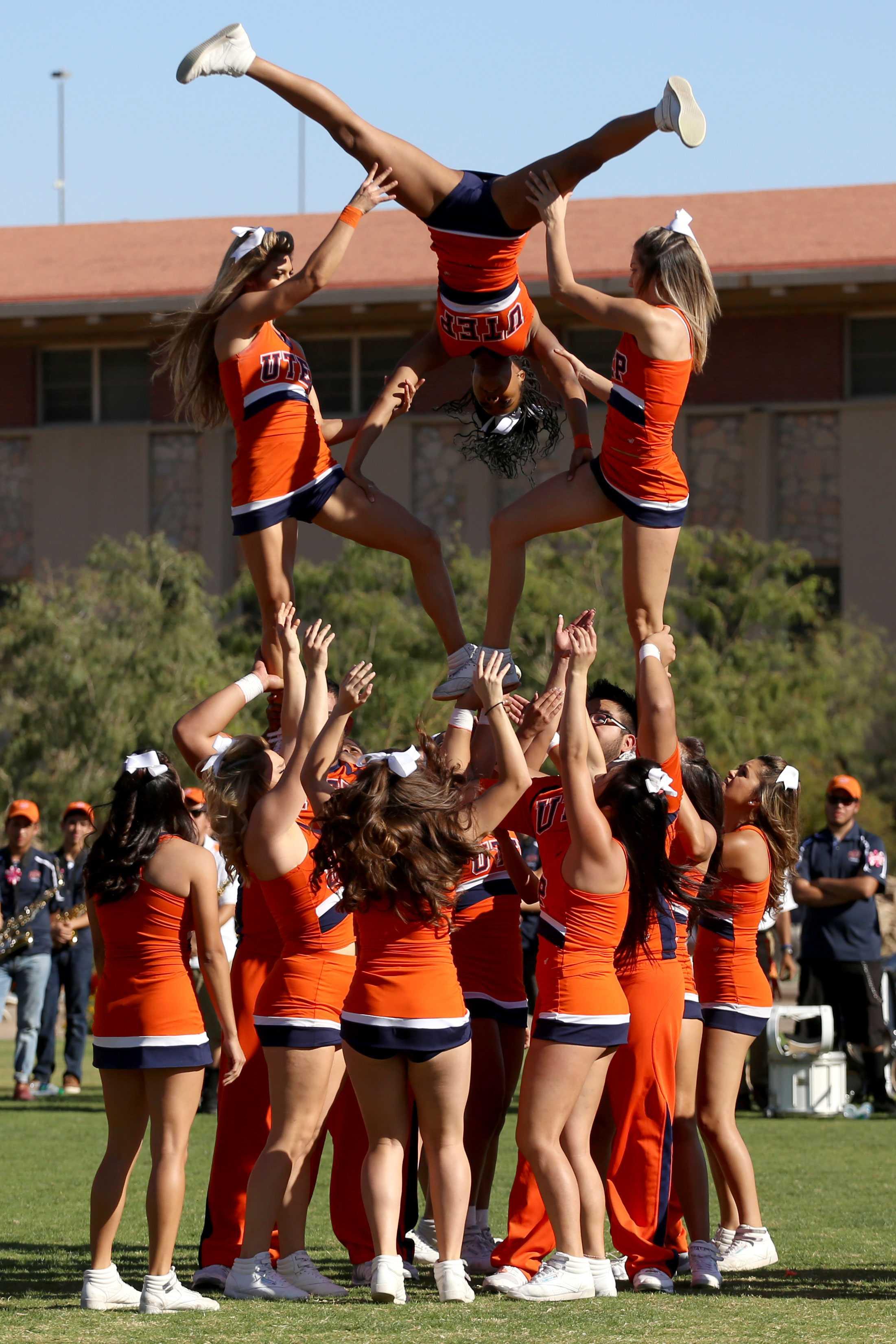 UTEP+cheerleaders+perform+at+the+pep+rally.+