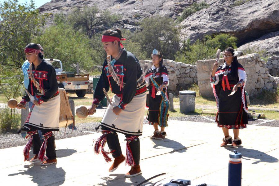 Dancers from Ysleta Del Sur Pueblo symbolize the sowing of seeds with a dance.