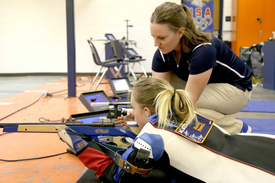 UTEP+rifle+head+coach+Hannah+Muegge+%28right%29+enters+her+second+season+as+head+coach+for+the+Miners+and+has+high+goals+for+the+coming+years+in+the+program.+