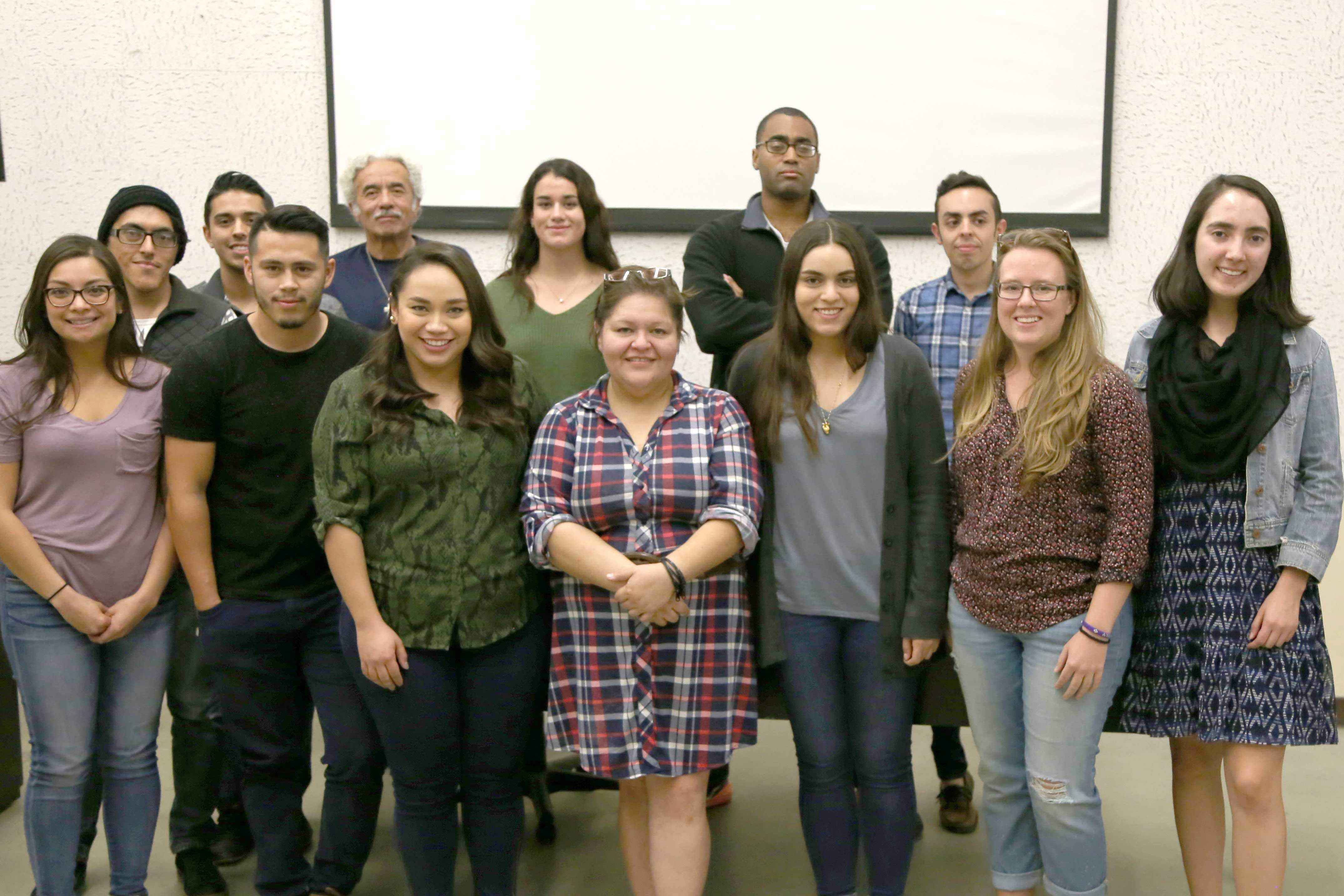 Sandra Salas (center) poses with students from the UTEP Advertising Federation last Thursday after giving a speech on her personal journey.