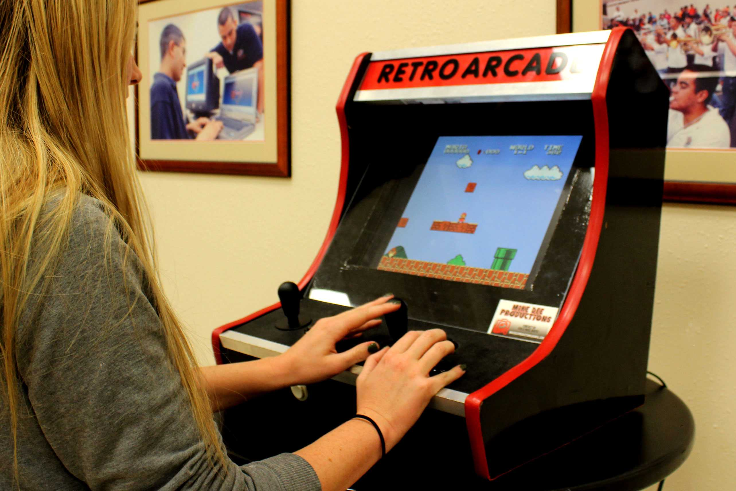 Students had the ability to play a number of retro arcade style games