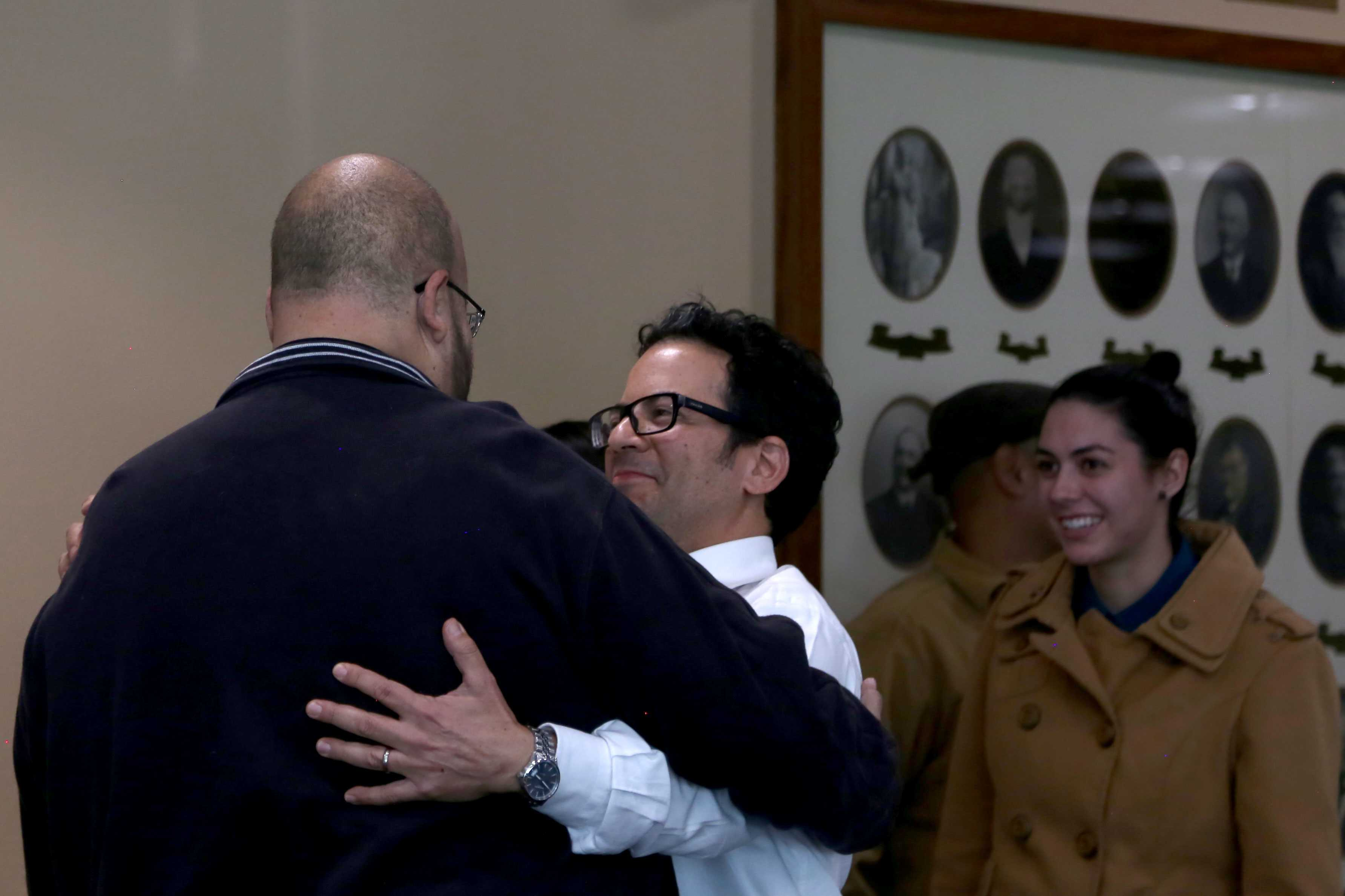Historians+Miguel+Juarez+and+Max+Grossman+congratulate+each+other+on+their+victory+to+preserve+Duranguito.+
