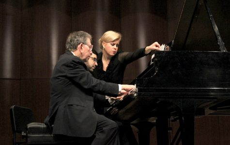 Jerome Lowenthal and Michael Brown perform at the Fox Fine Arts recital hall on Jan. 13.