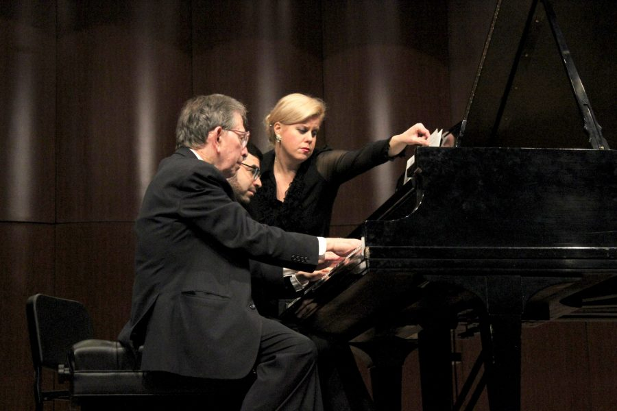 Jerome+Lowenthal+and+Michael+Brown+perform+at+the+Fox+Fine+Arts+recital+hall+on+Jan.+13.+