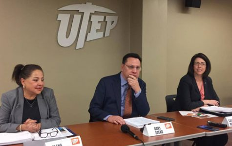 (From left) Elena Izquierdo, associate professor of education, Gary Edens, vice president of student affairs, and Catherine McCorry-Andalis, dean of students, announce the results of the UT System's study, Cultivating Learning and Safe Environments, on Friday, March 24.