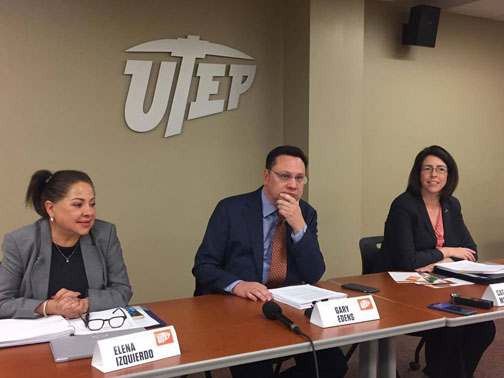 (From left) Elena Izquierdo, associate professor of education, Gary Edens, vice president of student affairs, and Catherine McCorry-Andalis, dean of students, announce the results of the UT Systems study, Cultivating Learning and Safe Environments, on Friday, March 24.