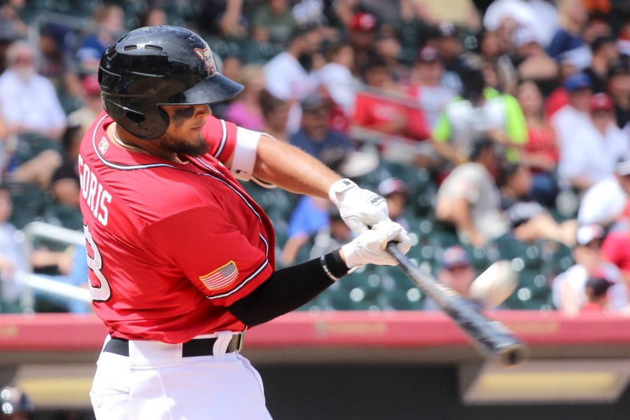 El Paso Chihuahuas second baseman Diego Goris swings at a pitch against the Las Vegas 51s at South West University Park.