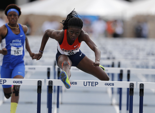 Sophomore Tobi Amusan wins her first NCAA title in 100-meter hurdles at NCAA Championships.