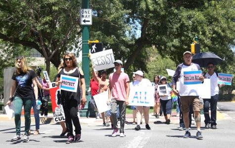 A march from the federal courthouse to San Jacinto Plaza was held on Saturday, July 29.