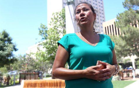 Veronica Escobar speaks at San Jacinto in support of transgender rights.