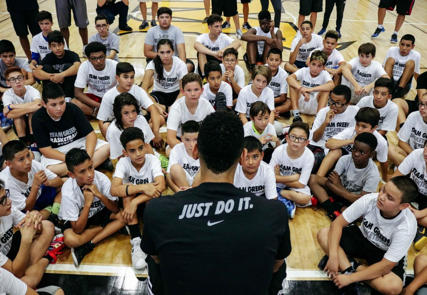 San+Antonio+Spurs+player+Danny+Green+held+a+Q%26A+with+young+basketball+players+during+his+Basketball+Skills+Camp.