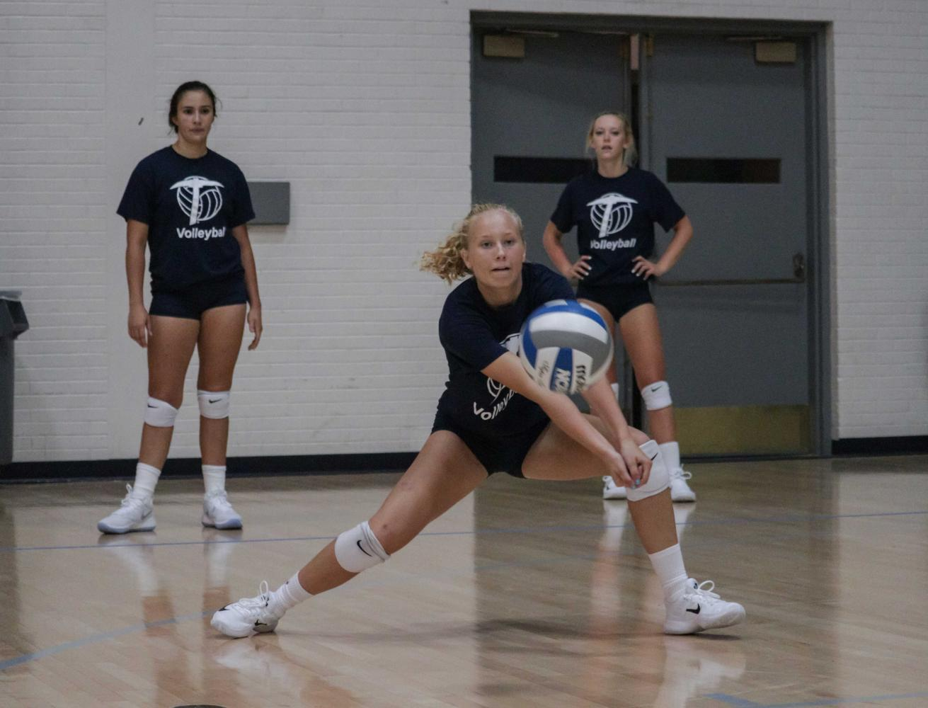 UTEP women's volleyball players practiced a variety of drills to improve and sharpen their skills.
