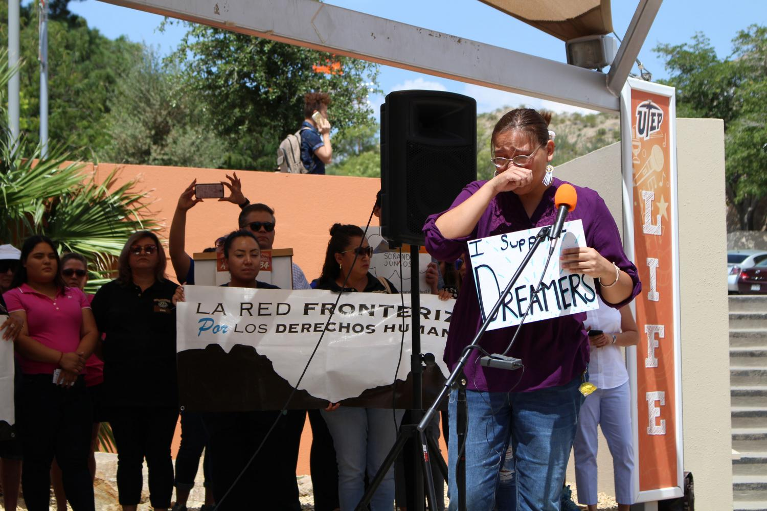 Cheyanne Lozano speaks during the protest.