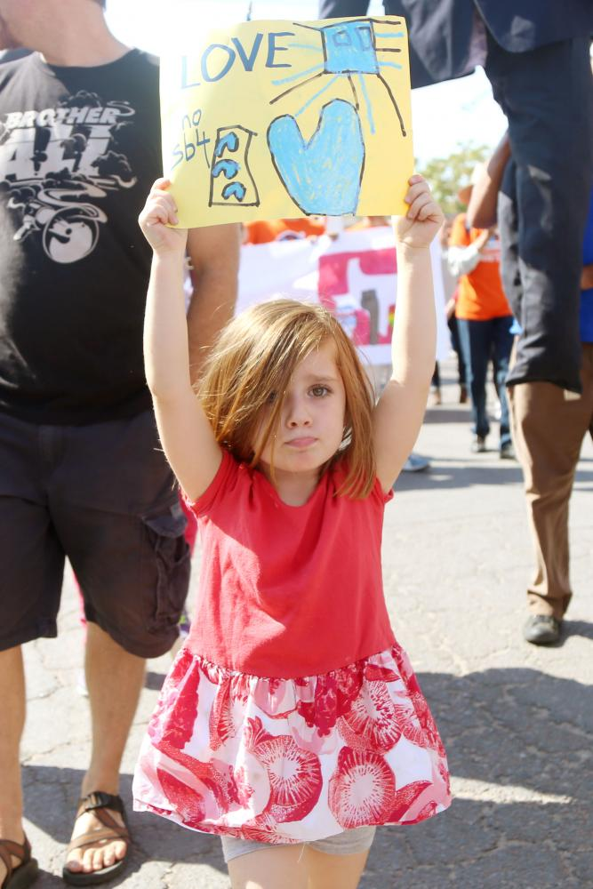 Hundreds+of+protestors+marched+from+Armijo+Public+Library+to+San+Jacinto+Plaza+to+celebrate+the+halt+of+Senate+Bill+4+on+Friday%2C+September+1.